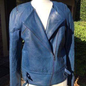 American Retro blue leather moto jacket 40